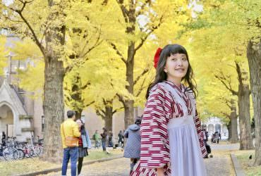 夢幻文藝金黃銀杏 東京大學本鄉校區 彌生校區 可以穿和服來拍照 東京旅行12月推薦景點
